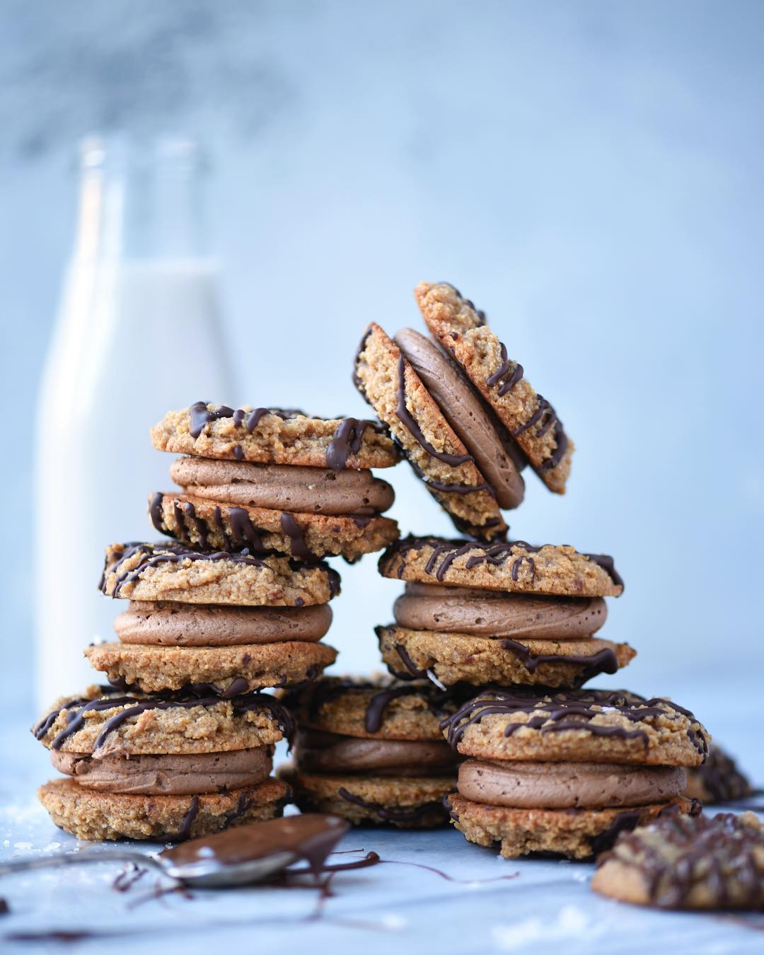 Chocolate Cream Peanut Butter Sandwich Cookies