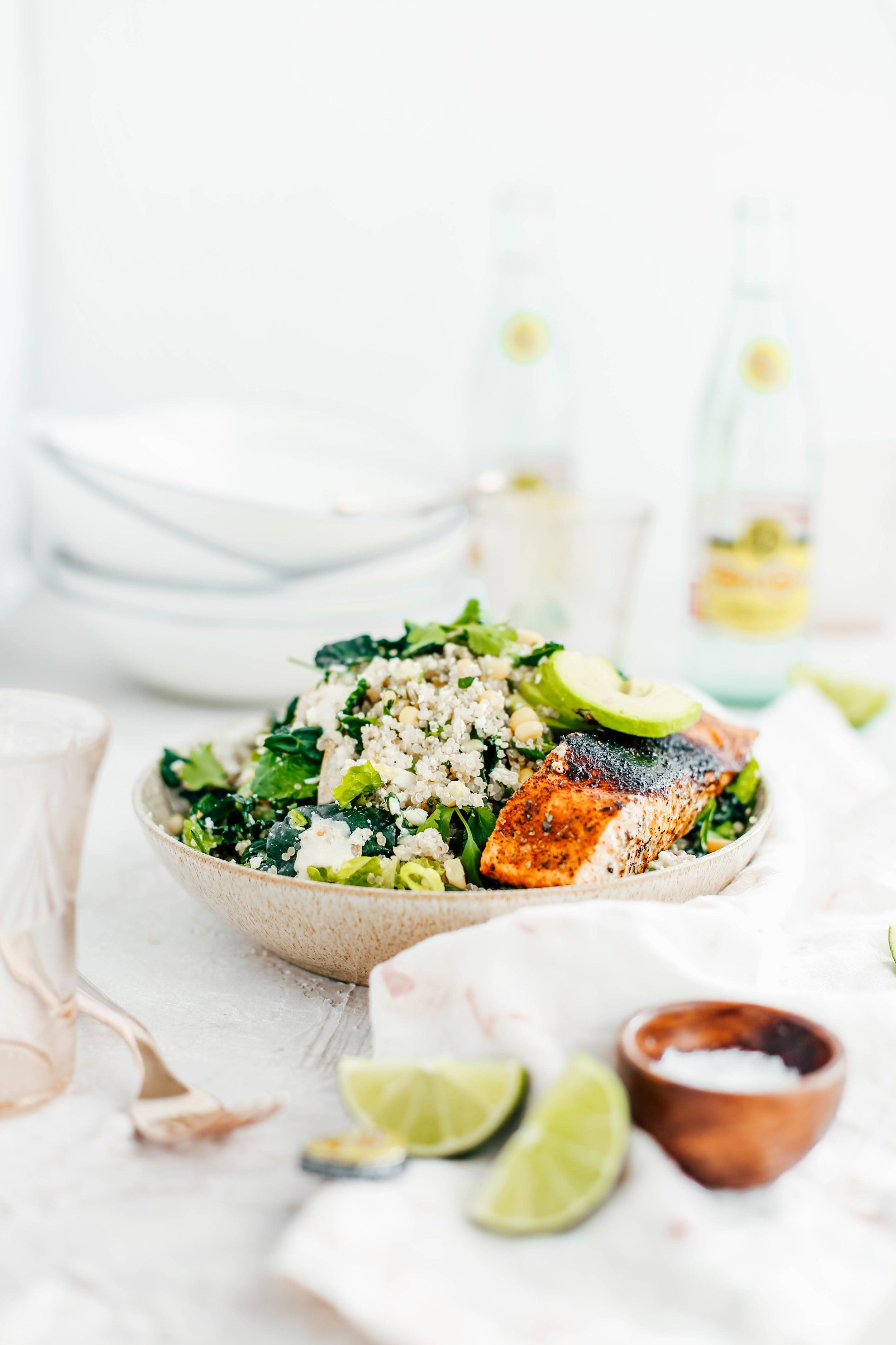Kale Caesar Salad with Golden Corn and Quinoa