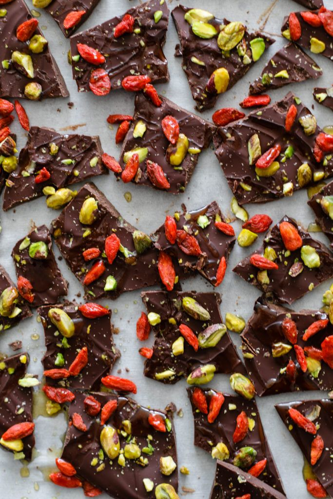 Pistachio and Goji Berry Chocolate Bark