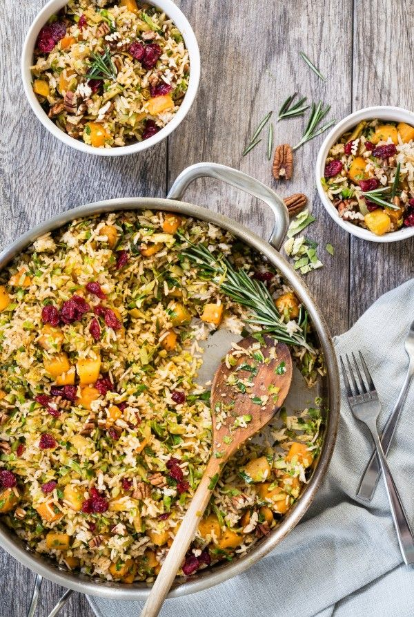 Brown Rice Pilaf with Butternut Squash and Brussels Sprouts
