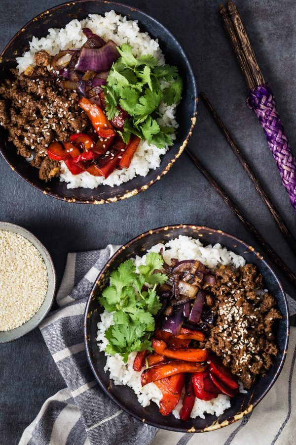 Asian Style Beef and Rice Bowls