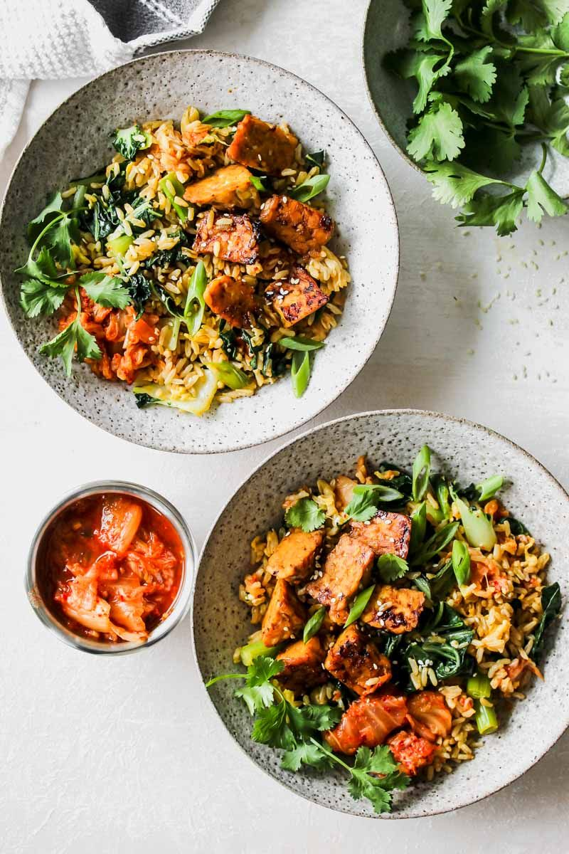Kimchi Fried Rice with Sesame Tempeh
