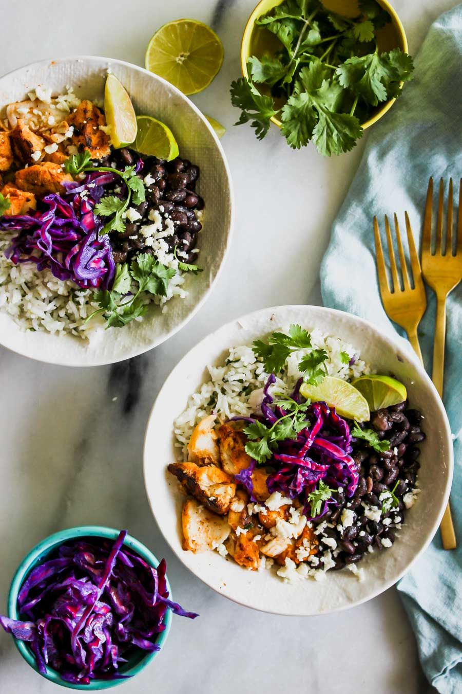 Fish Taco Bowl with Black Beans, Pickled Cabbage and Cilantro Lime Rice