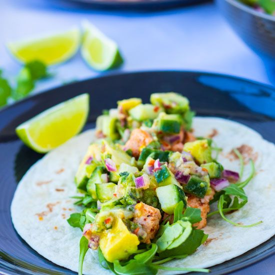 Ginger Avocado Salsa Salmon Tacos