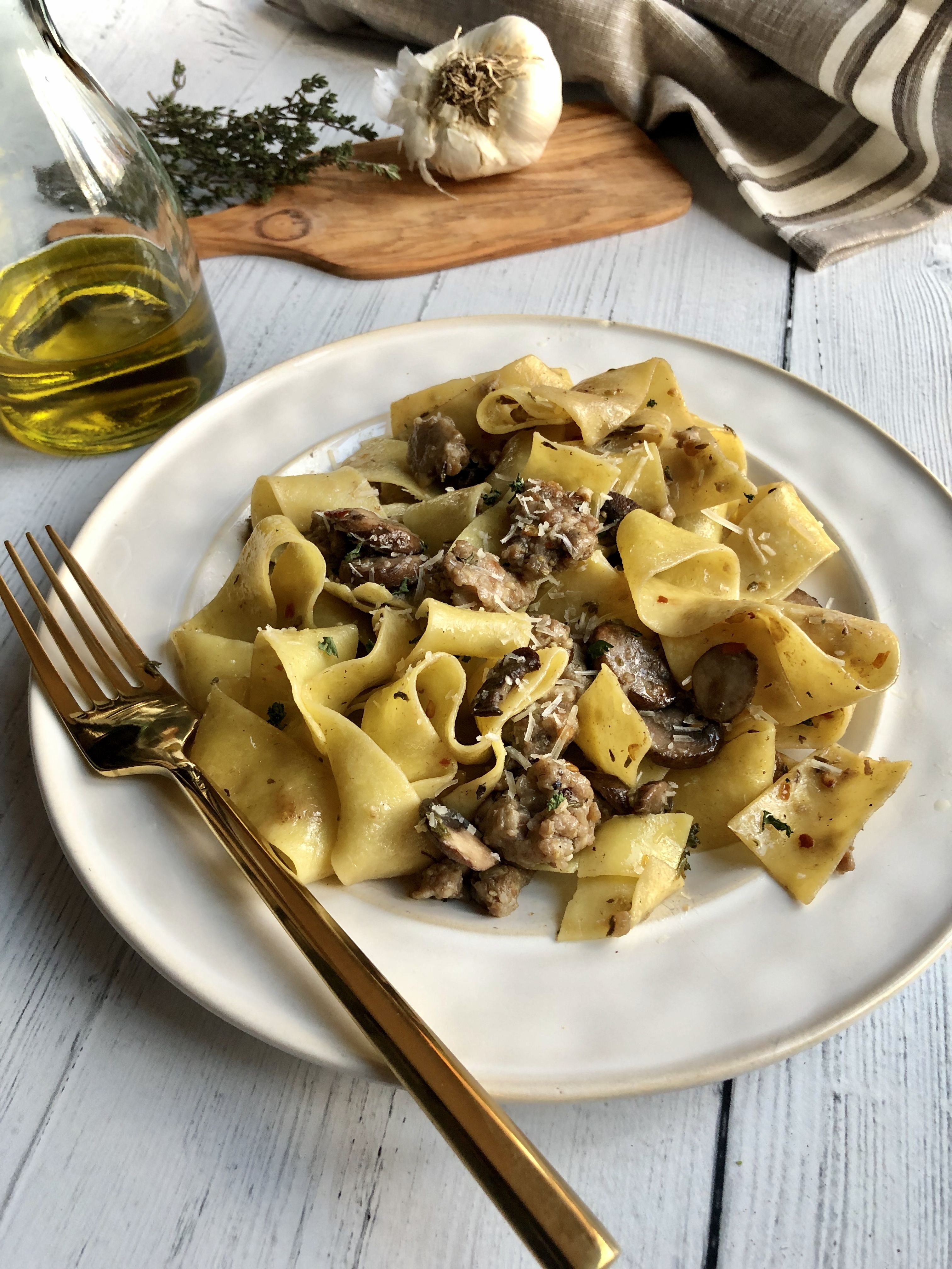 Mushrooms and Sausage Pappardelle