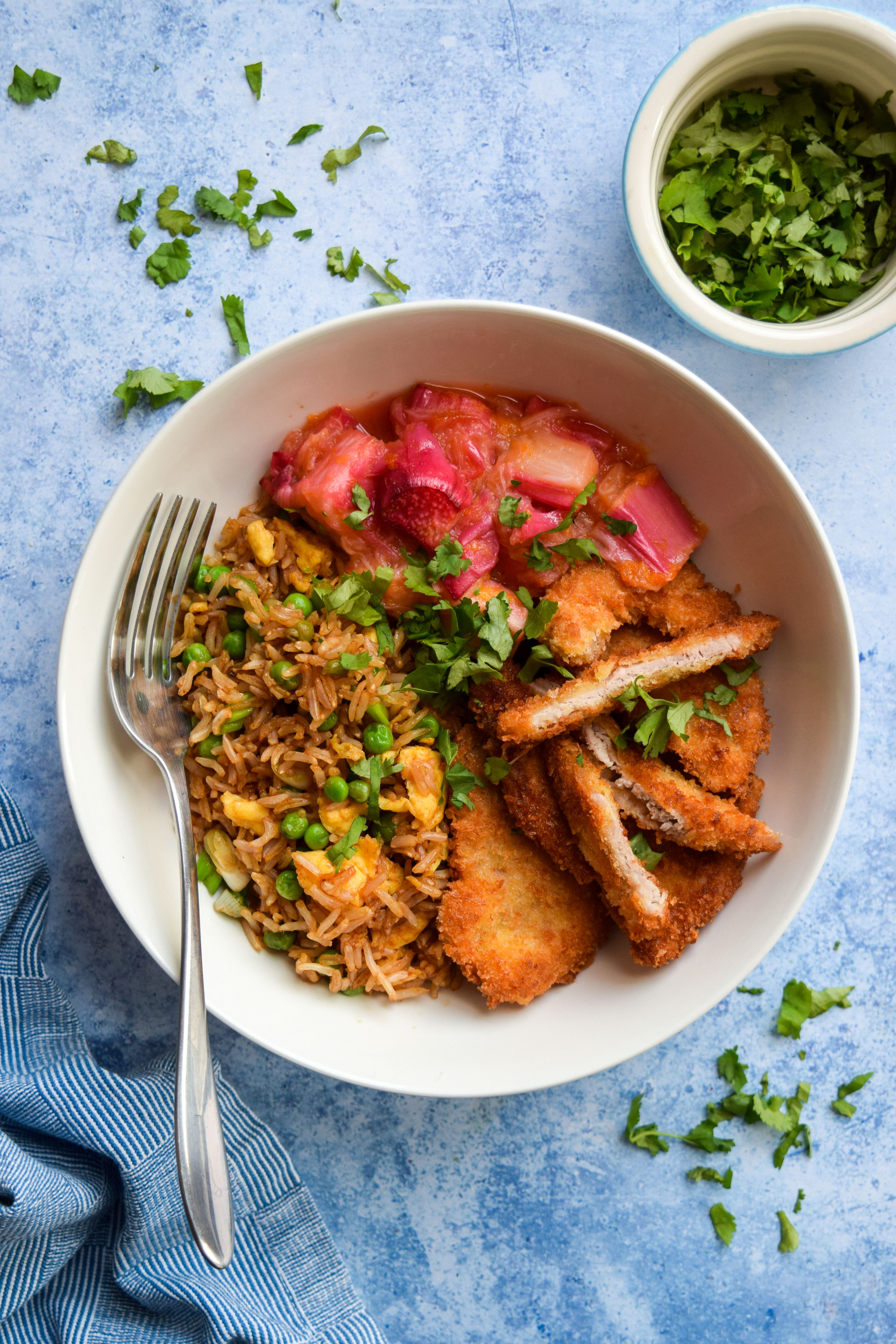 Crunchy Sweet and Sour Rhubarb Pork with Egg Fried Rice