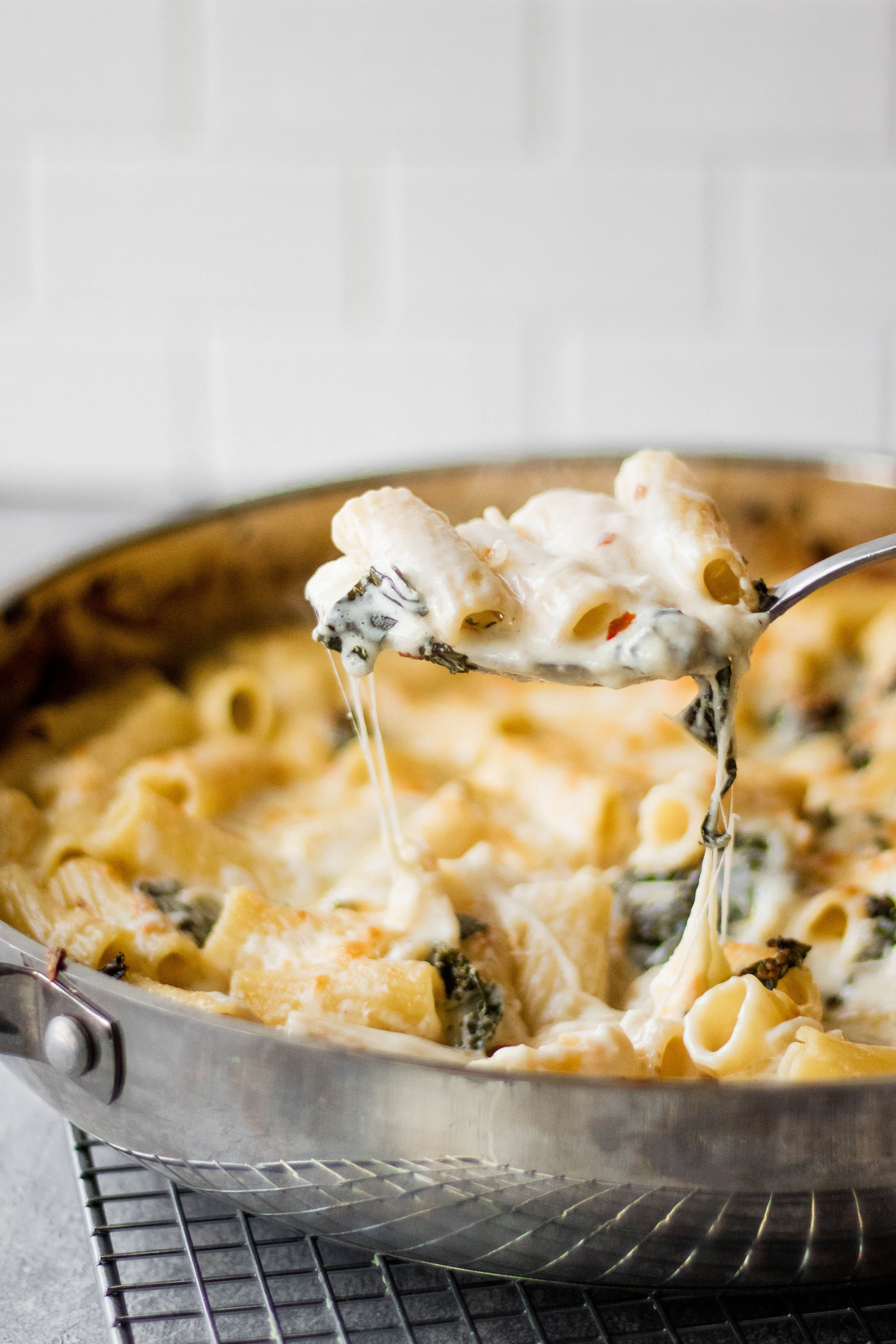 Garlicky Four Cheese Rigatoni with Kale