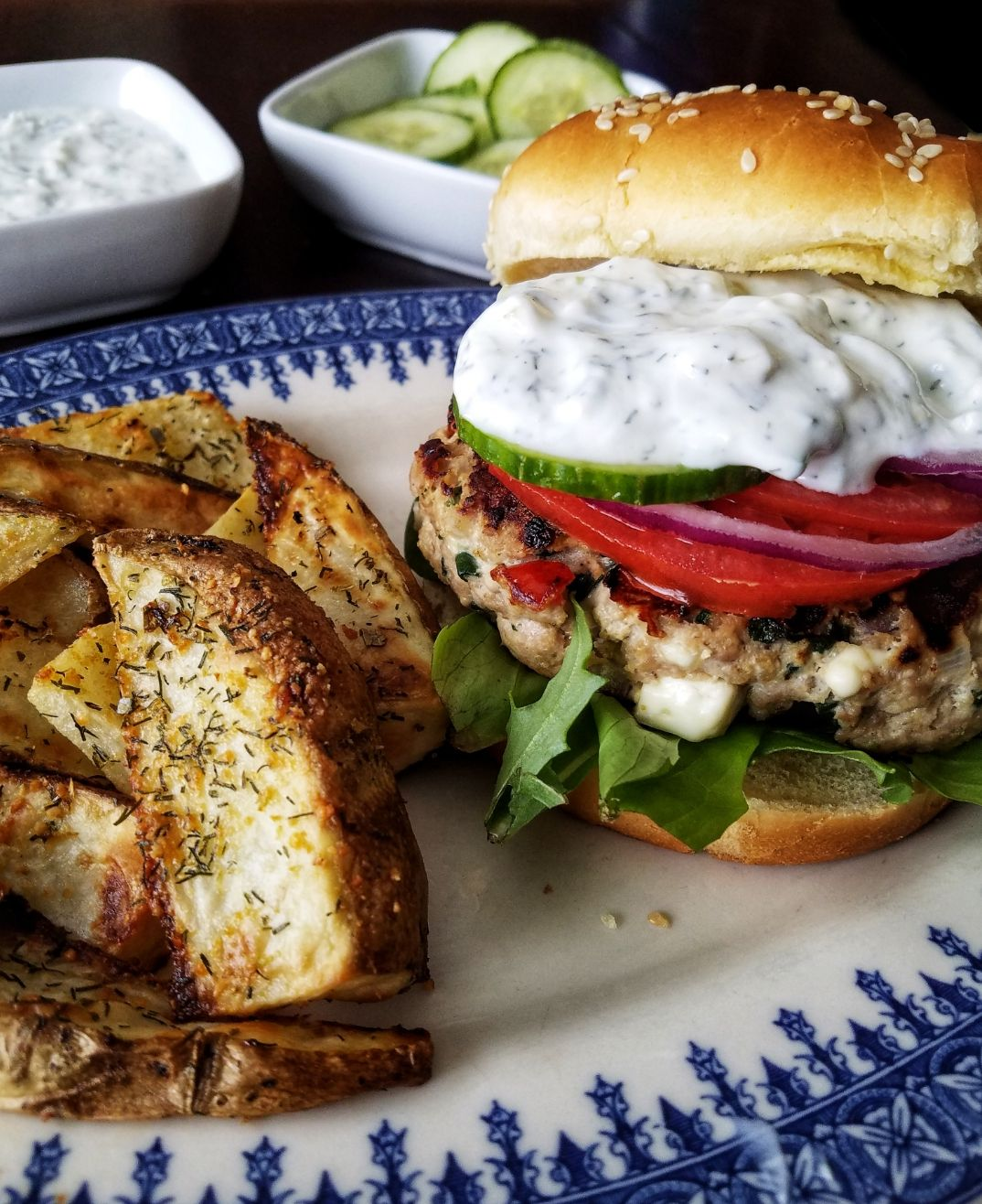 Turkey Burgers with Dill Sauce