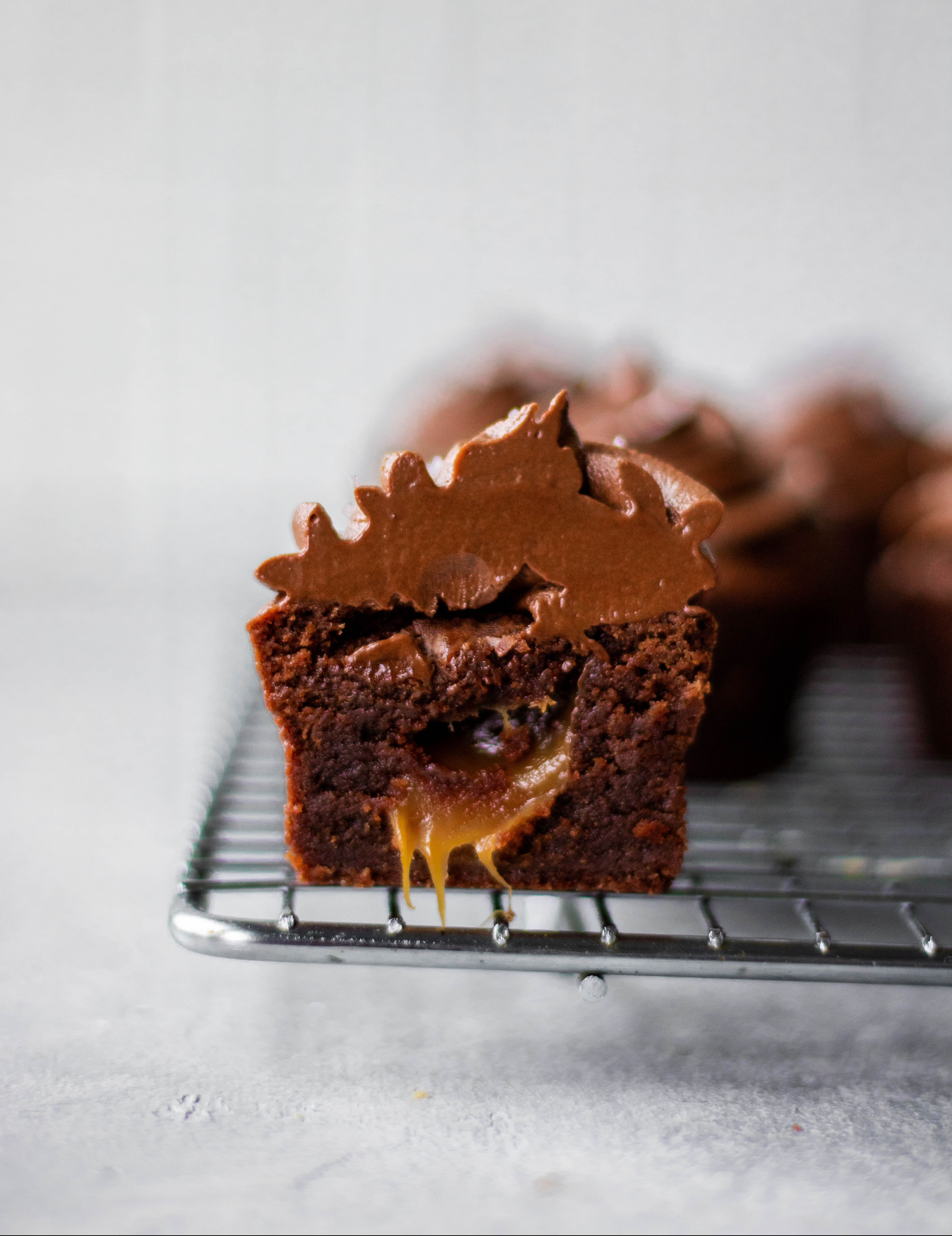 Salted Caramel Filled Brownie Bites with Whipped Chocolate Ganache
