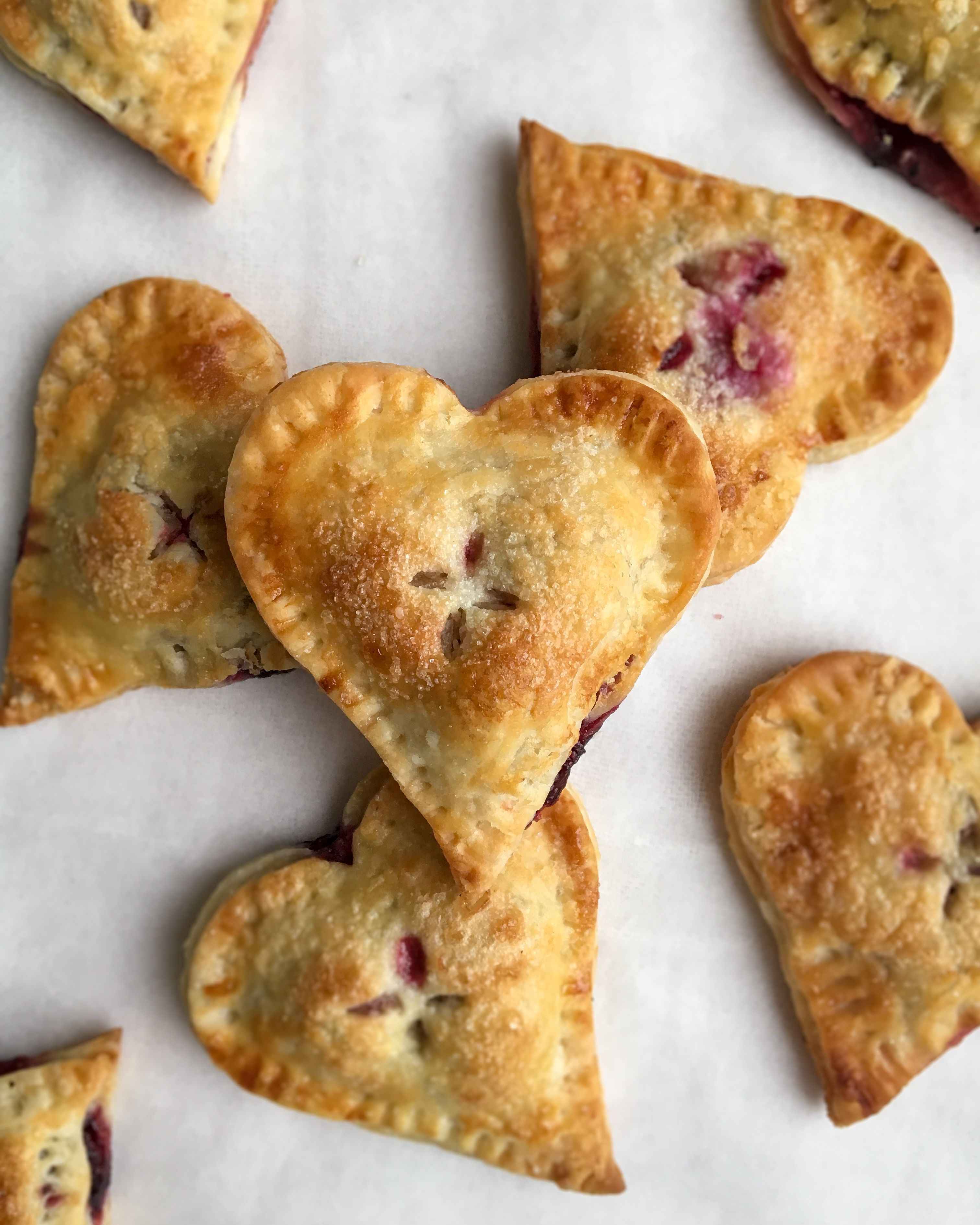 Heart Shaped Hand Pies with Blueberry and Strawberry Filling