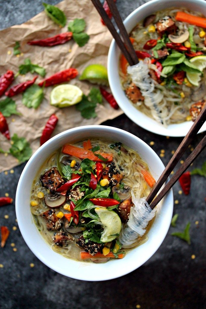 Noodle Soup with Sesame Crusted Tofu