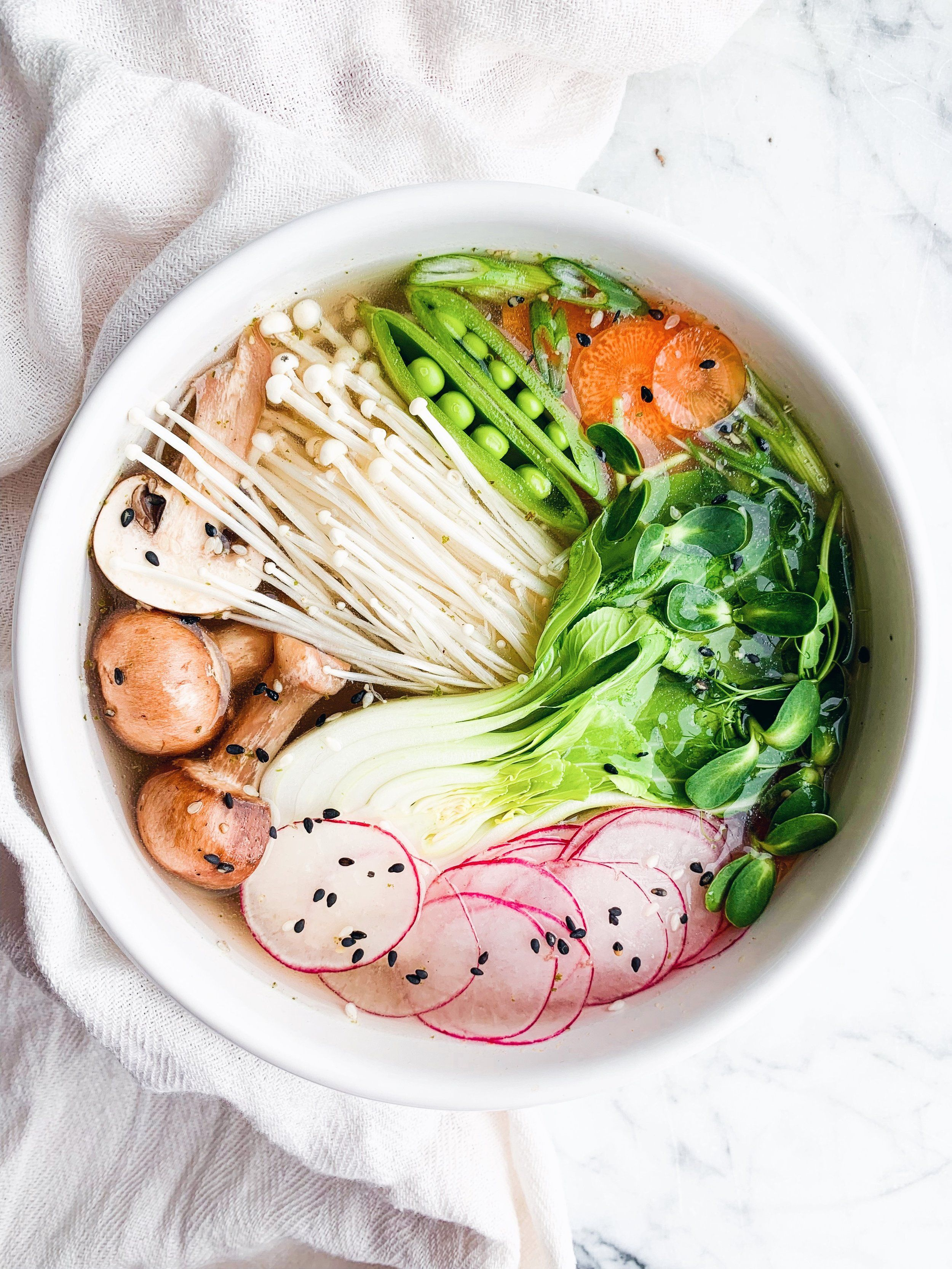 Vegetable pho with enoki mushrooms and bok choy