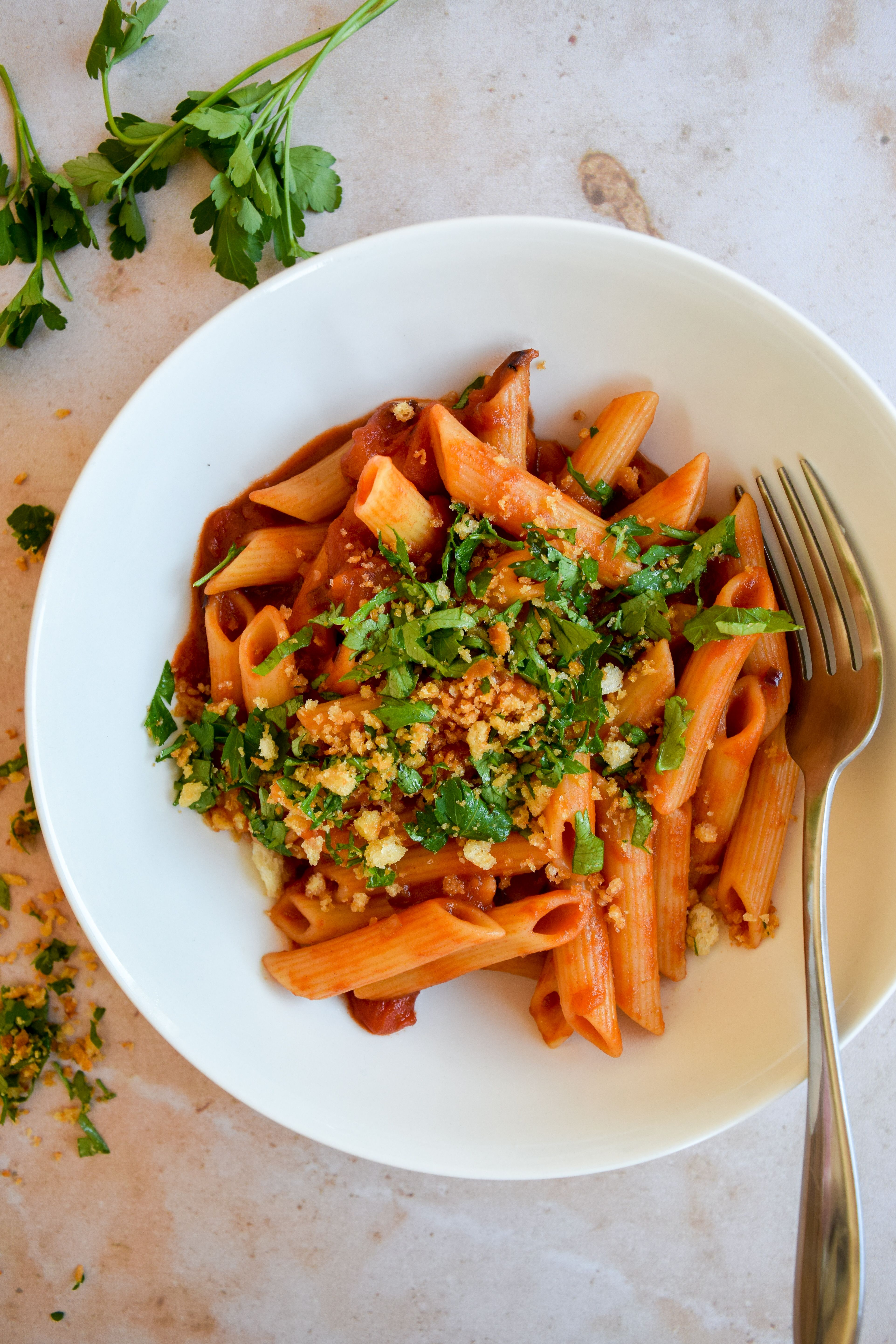 Penne with Crunchy Parsley Breadcrumbs