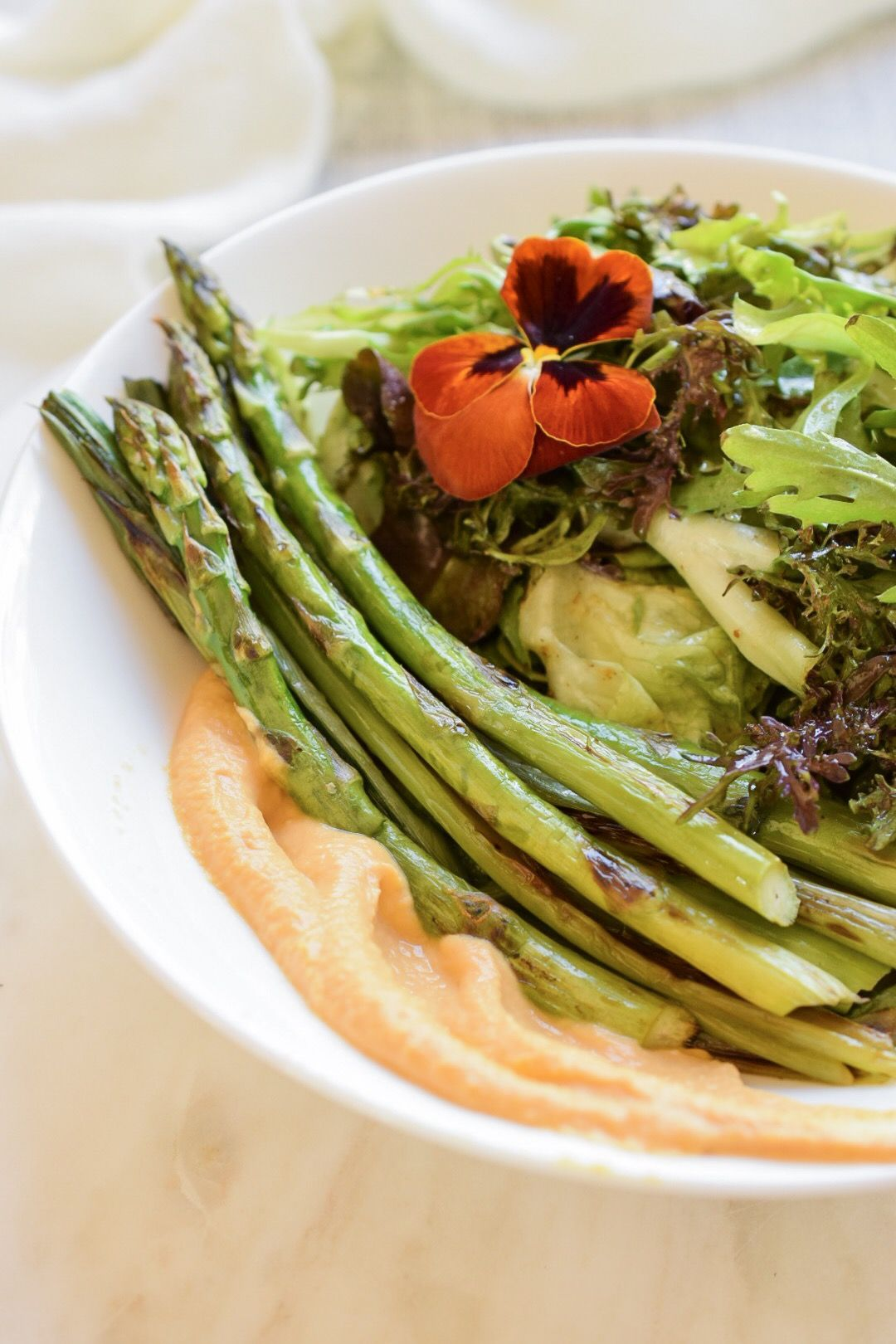 Grilled Asparagus with Whipped Carrot Hummus