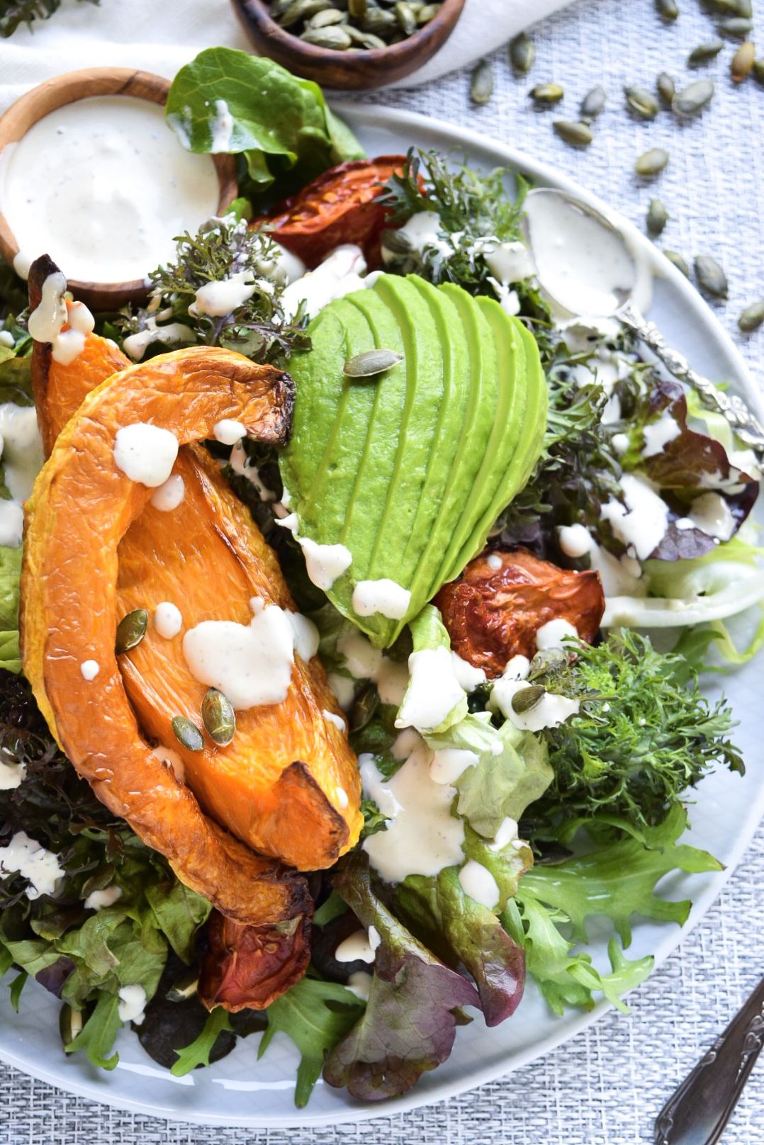 Herbed Cream Roasted Butternut Squash Salad
