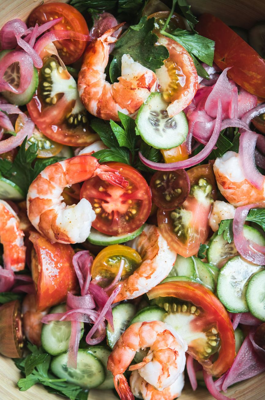 Poached Shrimp Tomato Parsley Salad