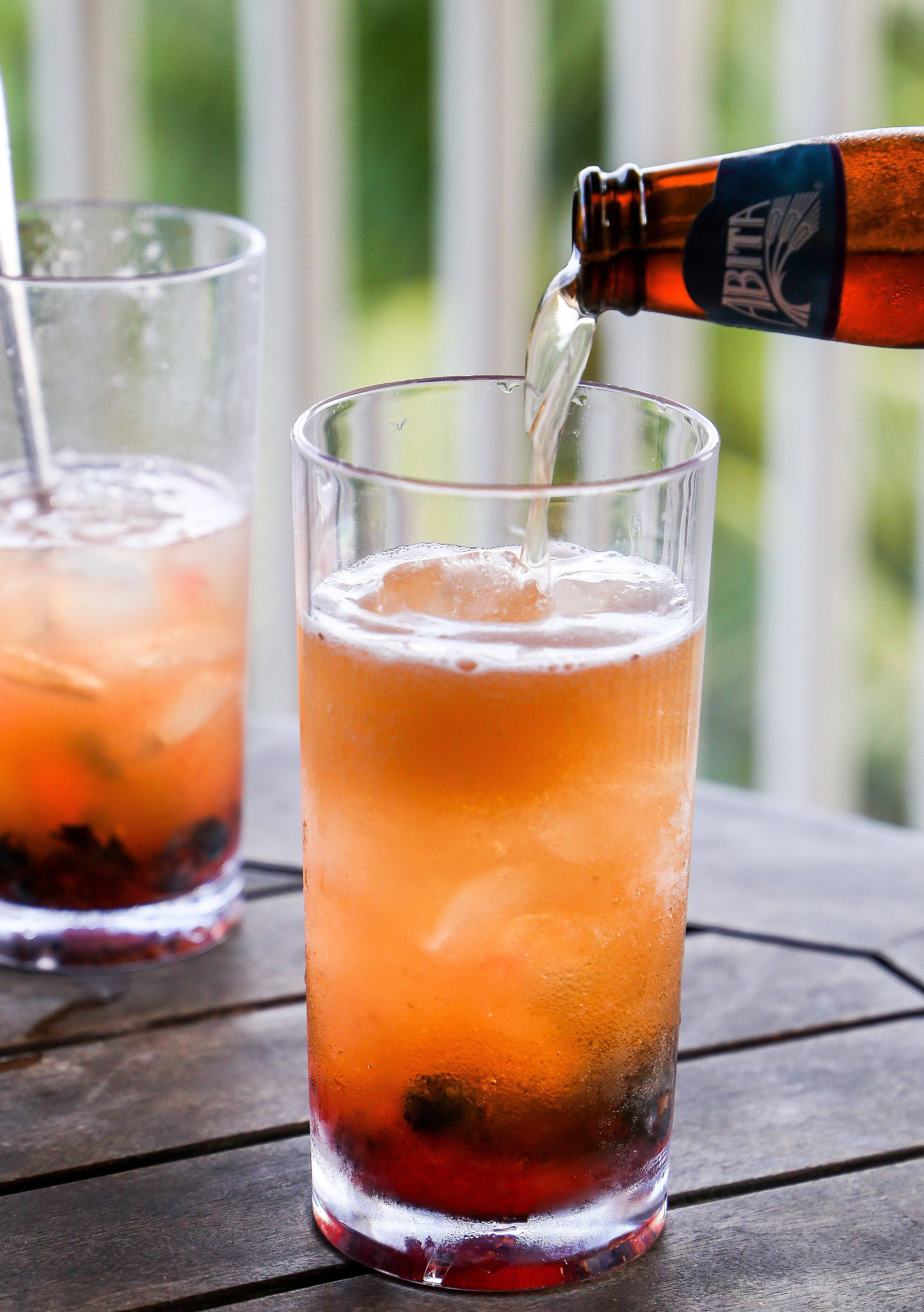 Blueberry Vodka Cocktail with Raspberry Lager