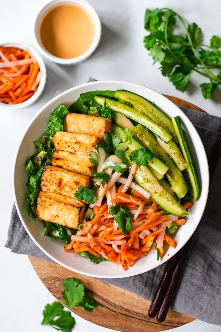 Crispy Tofu Salad with Pickled Veggies and Spicy Dressing