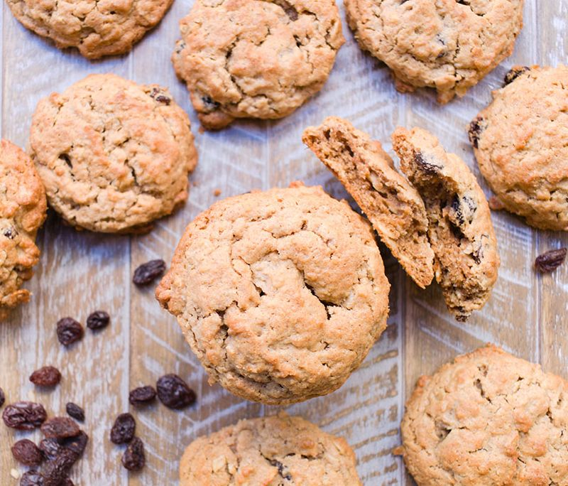 Spiked Peanut Butter Oatmeal Raisin Cookies