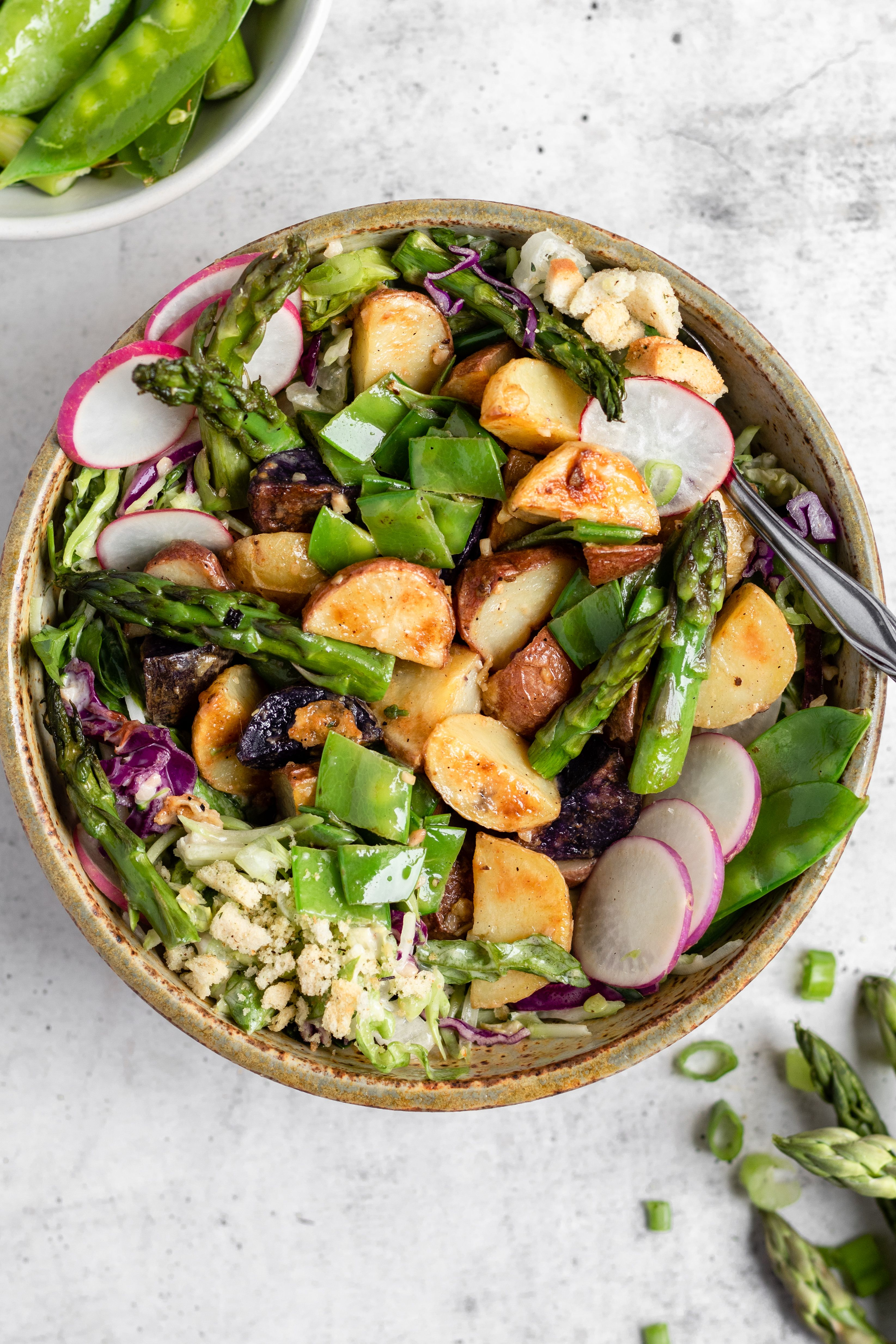 Warm Potato Salad with Roasted Garlic and Asparagus