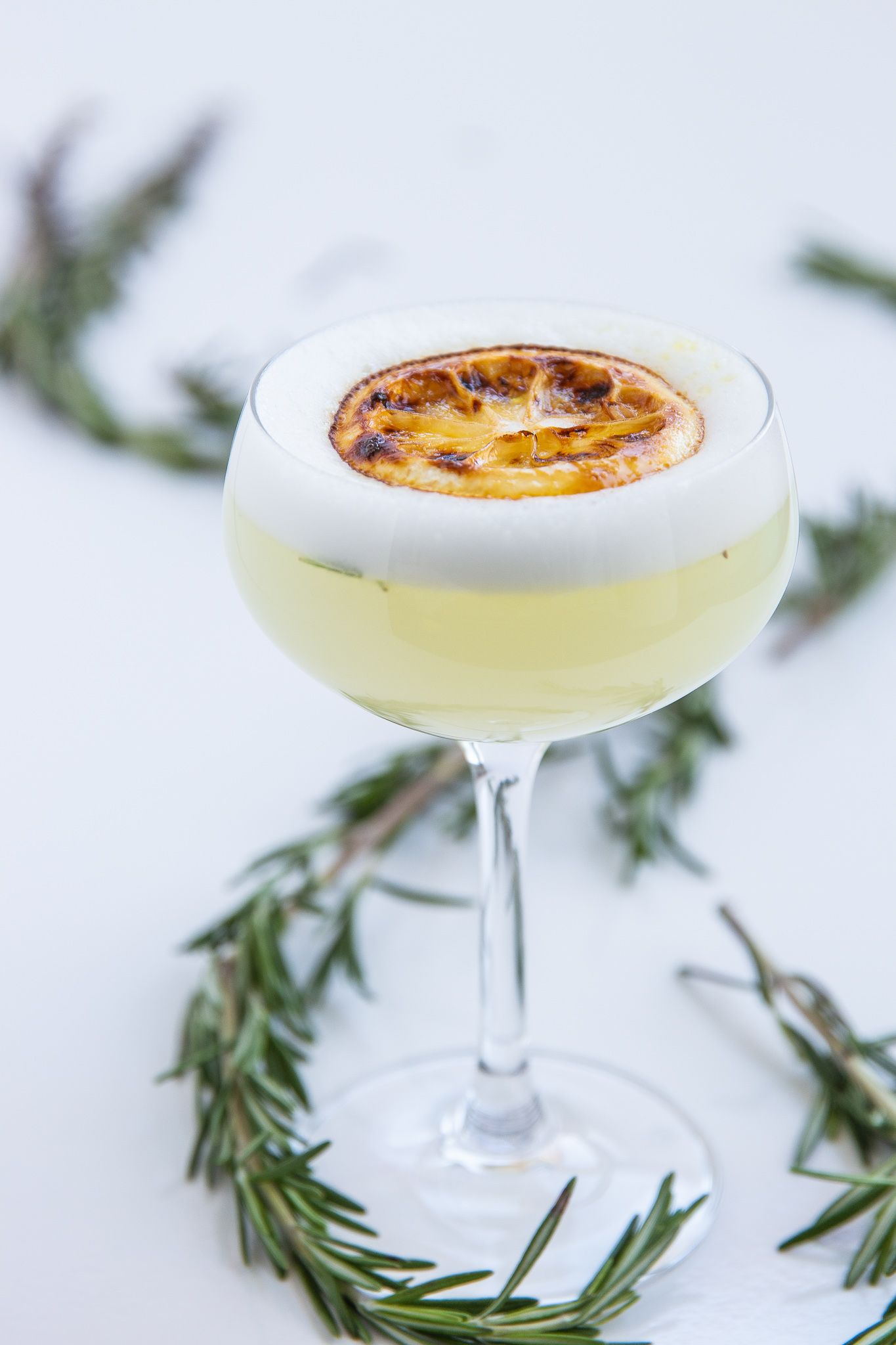 Rosemary Infused Sour with Brulee Lemon