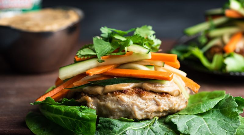 Chicken Burgers with Satay Sauce