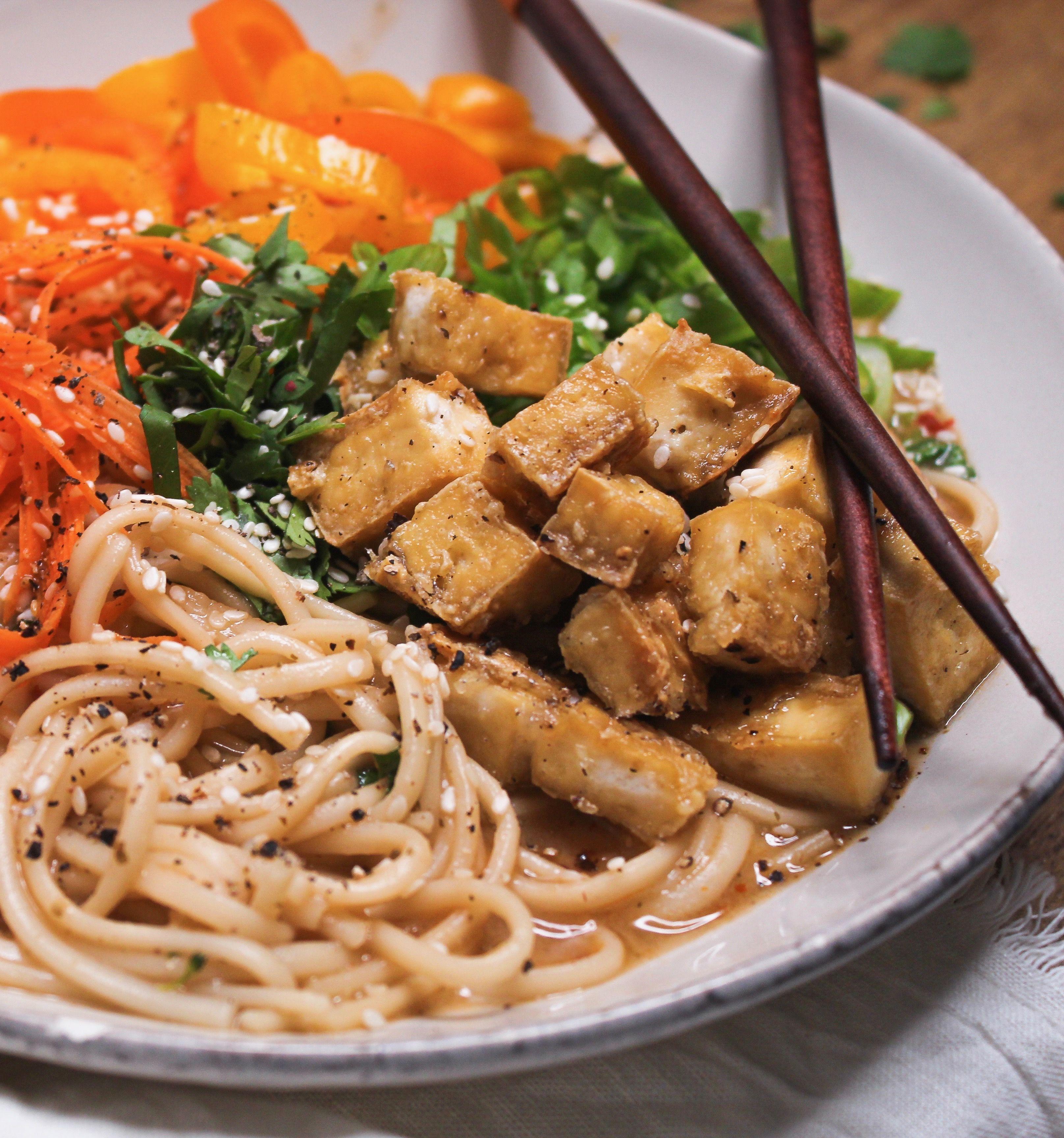 Miso Tofu Udon Noodle Soup