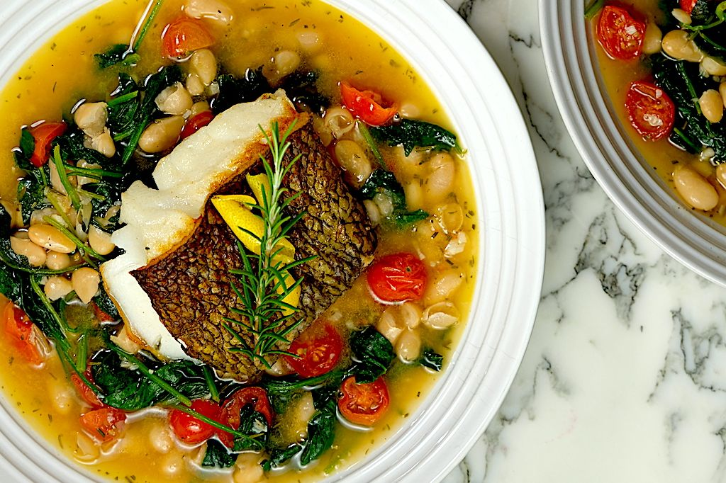 Sea Bass with Beans, Spinach and Tomatoes