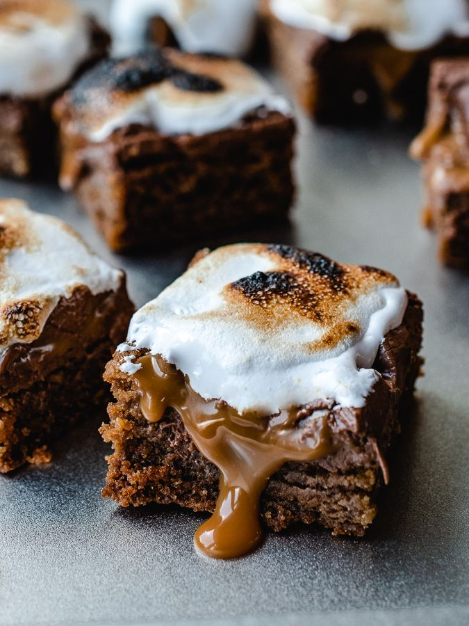 Caramel Stuffed S'mores Bars