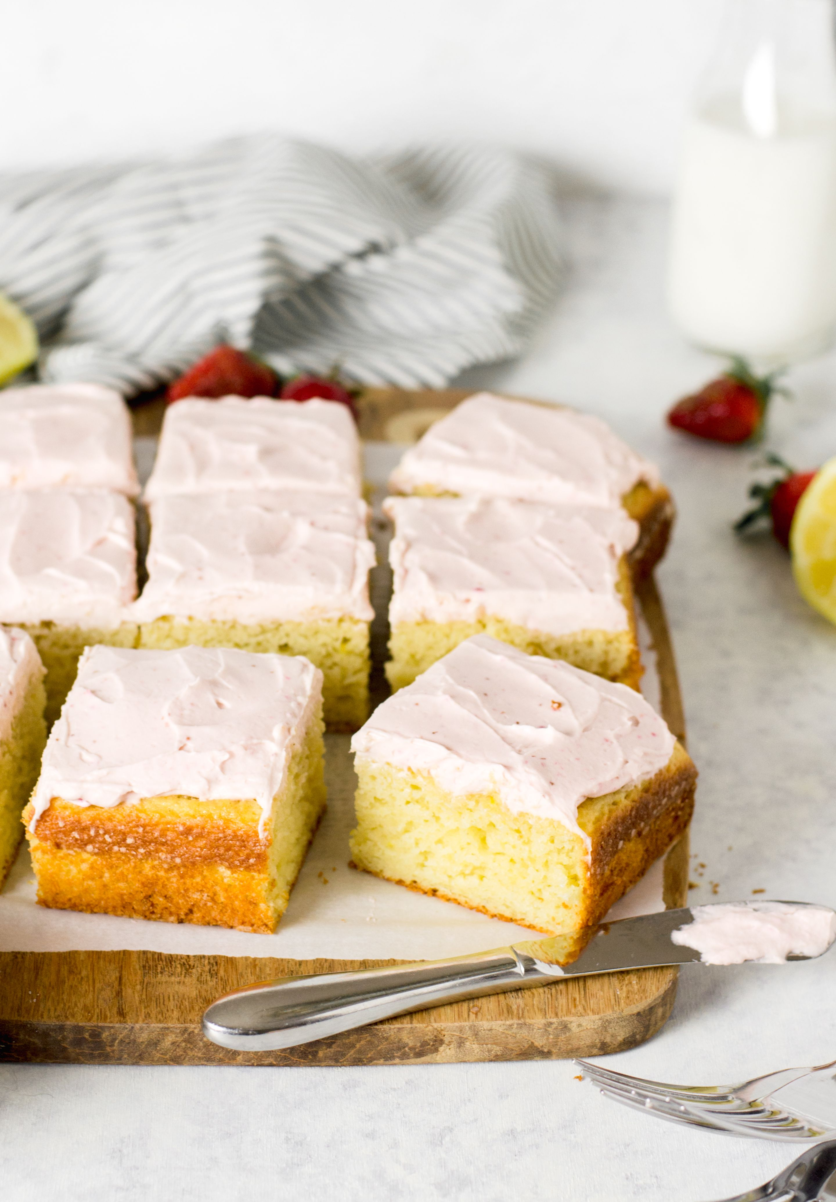 LEMON CAKE WITH STRAWBERRY CREAM CHEESE FROSTING