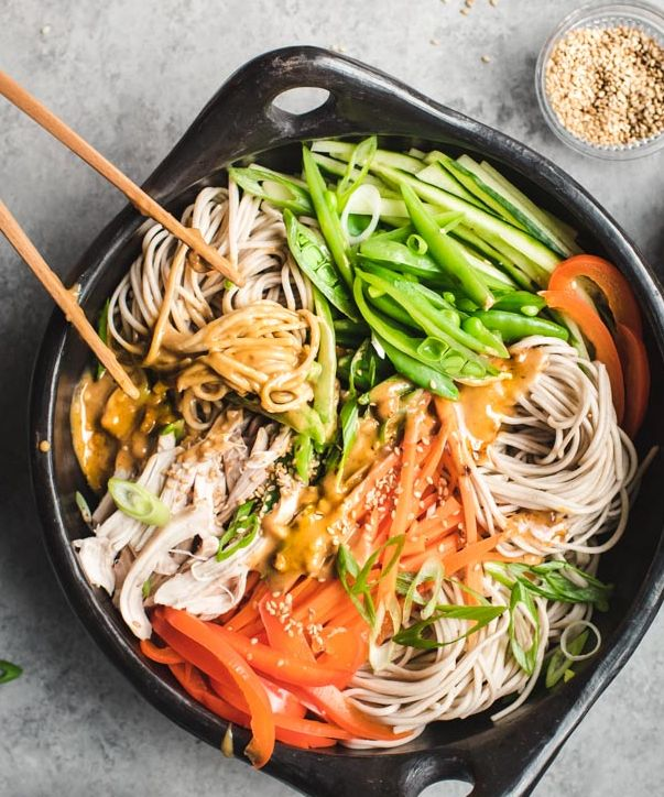 Chilled Noodle Salad with Spicy Peanut Sauce