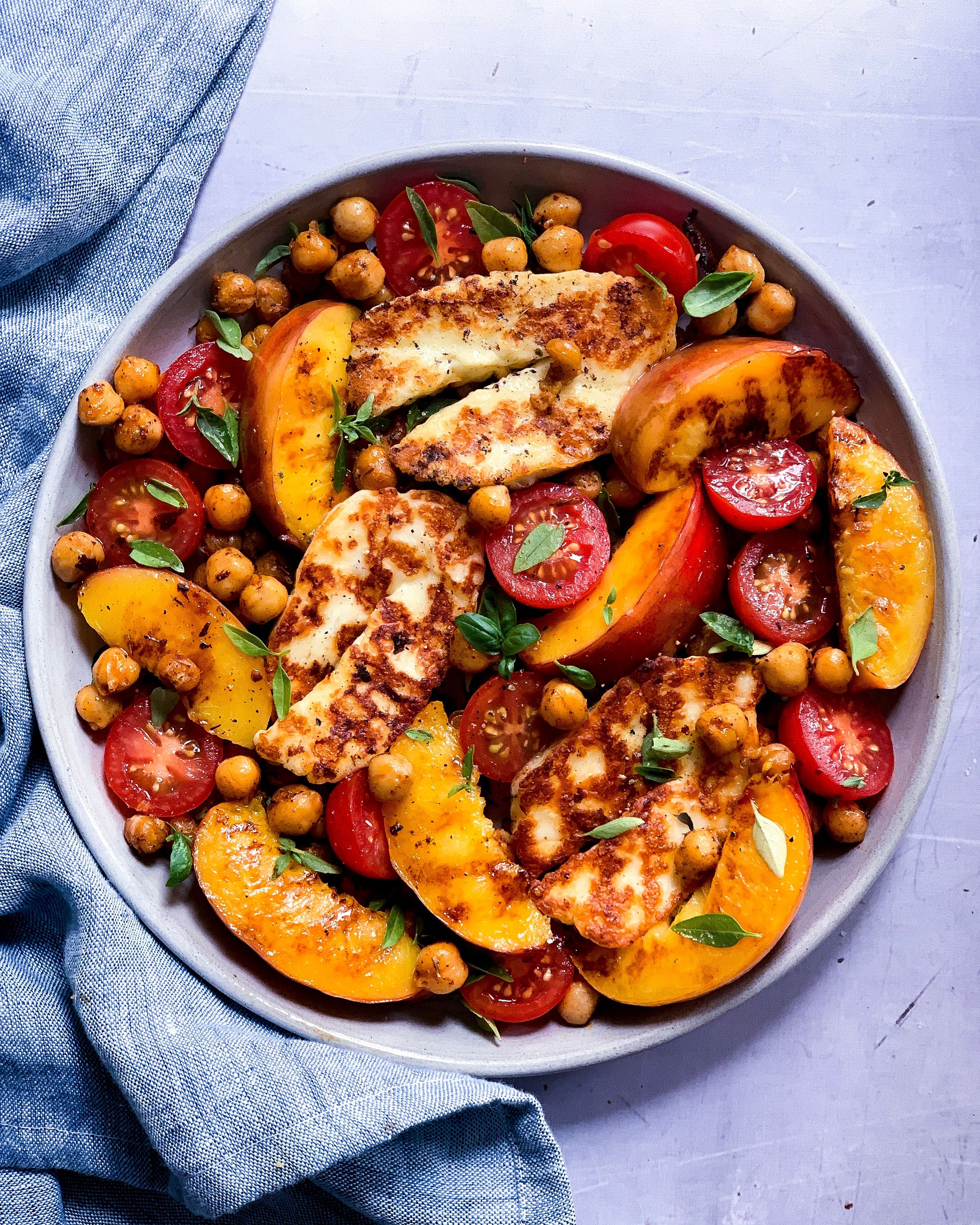 Nectarine Salad with Chickpeas and Grilled Halloumi