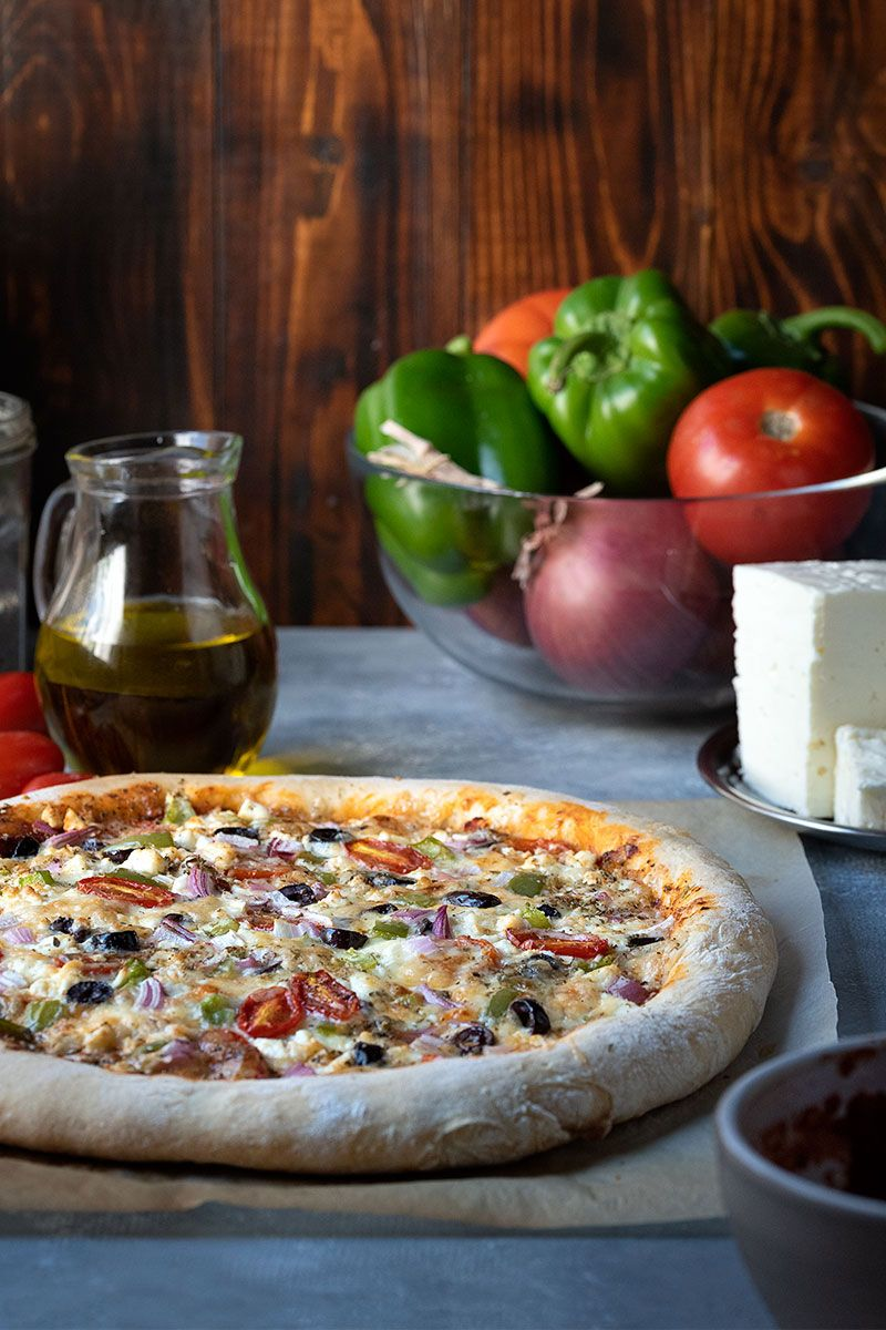 Greek Pizza with Yogurt and Olive oil Dough