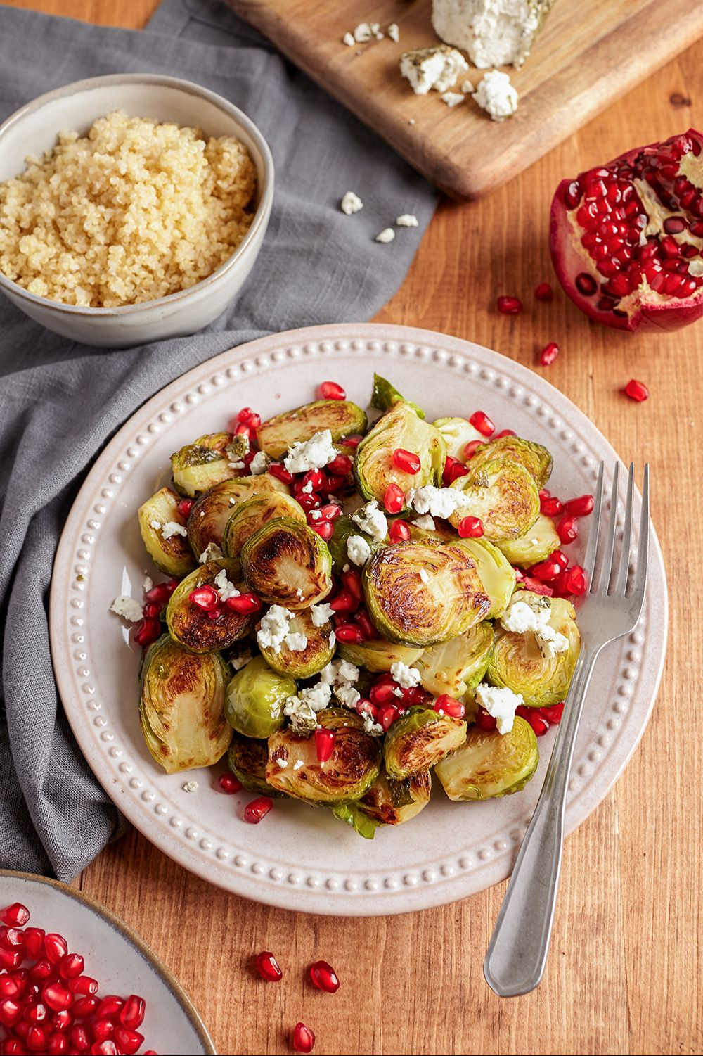 Grilled Brussels Sprouts with Goat Cheese